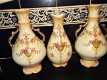 "3 X ANTIQUE GILDED BLUSH VASES FIELDINGS 2 =10.5"" + 1 = 9"" CROWN DEVON D625 ETNA"